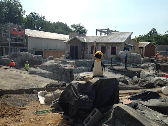 plush penguin in construction
