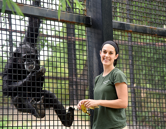 zoo keeper with chimp