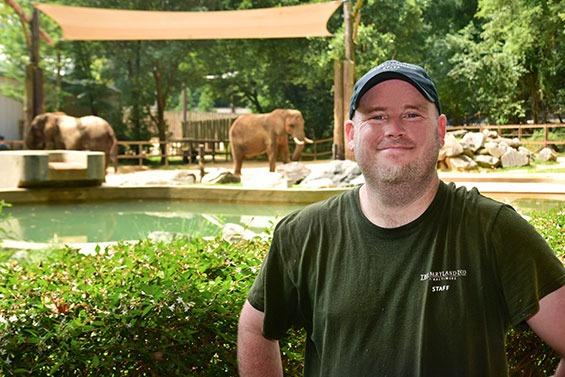 zoo keeper infront of elephant exhibit