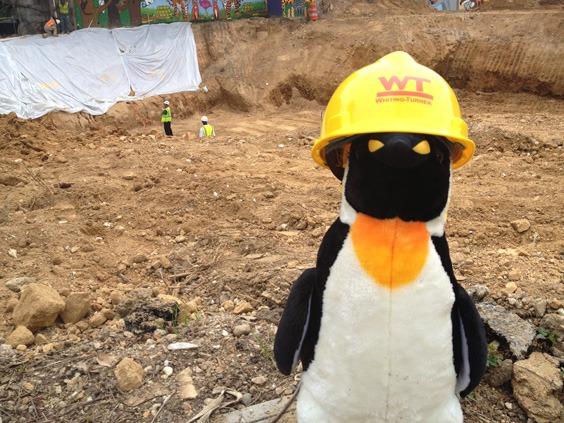 penguin plush at construction site