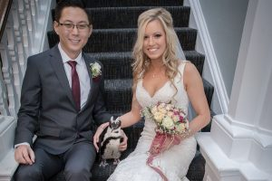 bride and groom with penguin