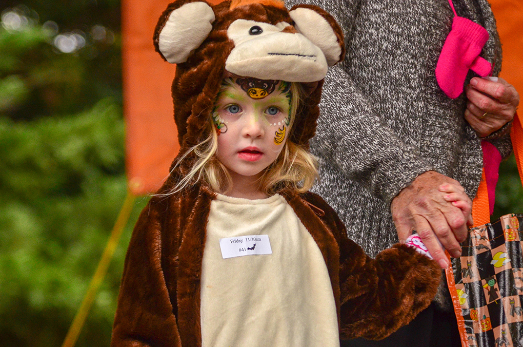 little girl in monkey costume