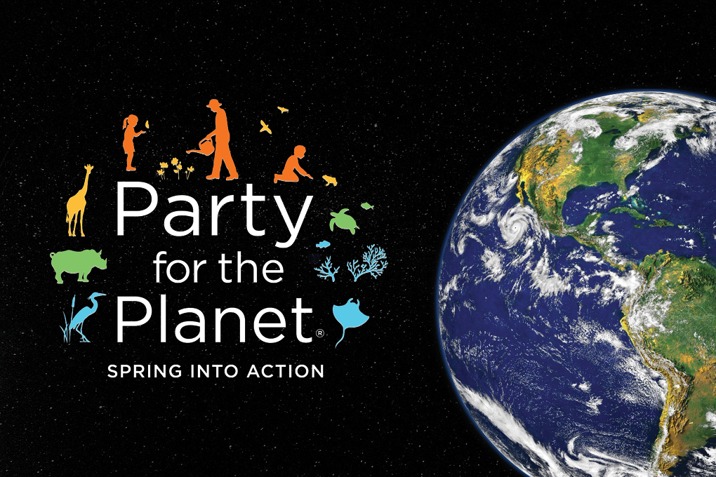 party for the planet logo with globe.