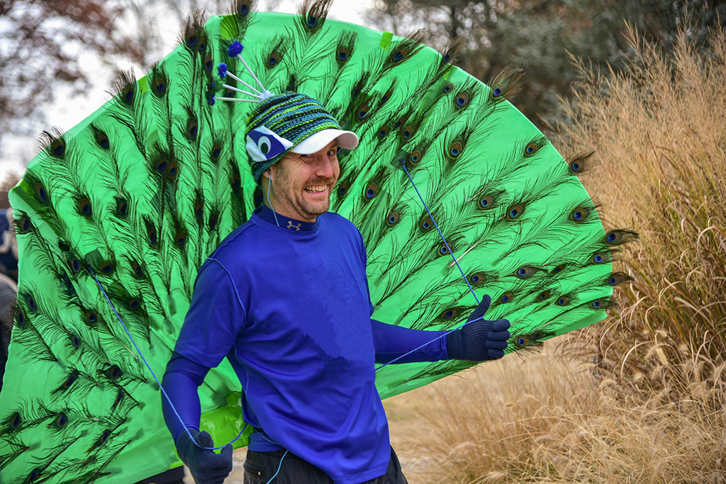 man in a peacock outfit